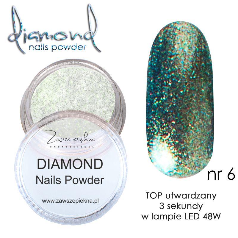 Diamond Nails Powder Green Diamentowe Paznokcie Zawsze Piękna